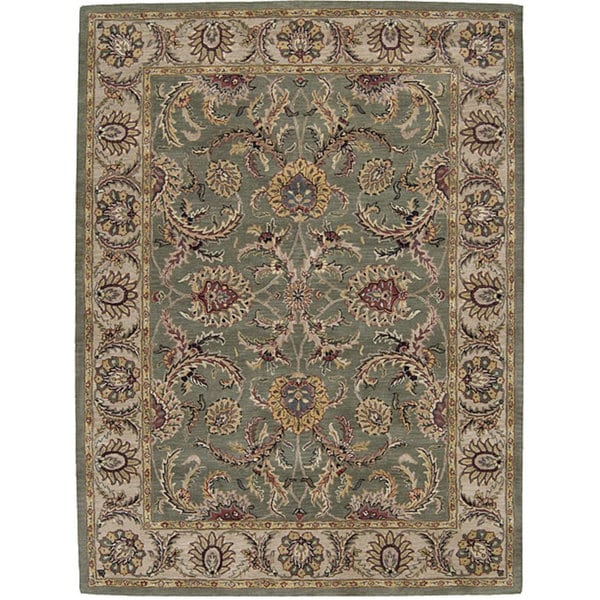 Nourison Hand-tufted Caspian Green Floral Wool Rug (8' X