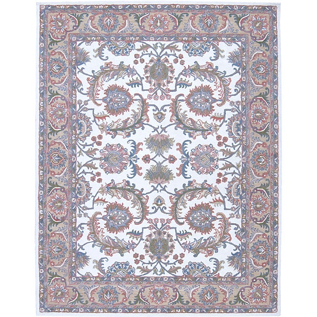 Nourison Traditional Hand-Tufted Caspian Ivory Wool Rug - 8' x 10'6