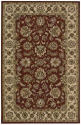 "Nourison Hand-Tufted Caspian Red Oriental Wool Rug (3'6"" x 5'6"") - Thumbnail 1"