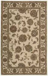 Nourison Hand-tufted Caspian Ivory Wool Rug (3'6 x 5'6) - Thumbnail 2