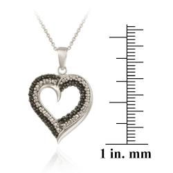 DB Designs Sterling Silver Black Diamond Accent Heart Pendant - Thumbnail 2