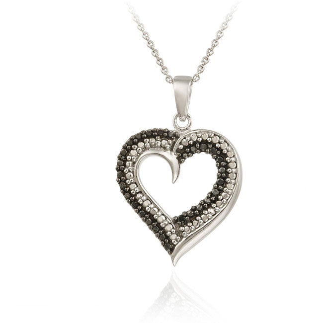 DB Designs Sterling Silver Black Diamond Accent Heart Pendant - Thumbnail 0