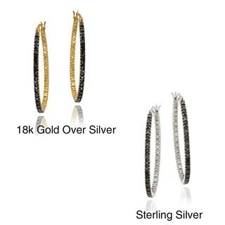 DB Designs Sterling Silver 1/10ct TDW Black Diamond Oval Hoop Earrings