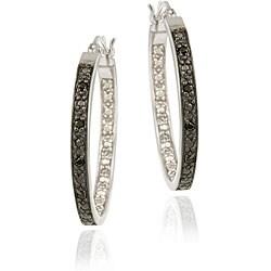DB Designs Sterling Silver 1/10ct TDW Black Diamond 25-mm Hoop Earrings (I2-I3)