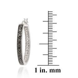 DB Designs Sterling Silver 1/10ct TDW Black Diamond Oval Hoop Earrings - Thumbnail 2