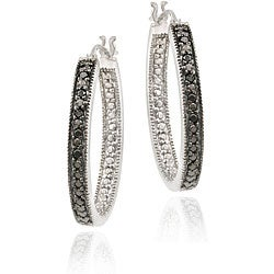 DB Designs Sterling Silver 1/10ct TDW Black Diamond Oval Hoop Earrings - Thumbnail 0