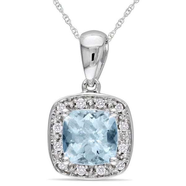 Miadora 10k White Gold Aquamarine and Diamond Necklace (H-I, I2-I3)