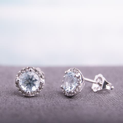 Miadora 10k White Gold Aquamarine and Diamond Halo Earrings (H-I, I2-I3) - Blue