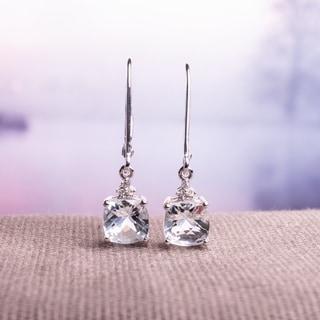 Miadora 10k White Gold Aquamarine and Diamond Accent Earrings