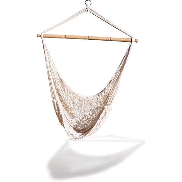Genial Natural Colored Cotton Blend Rope Hammock Net Chair