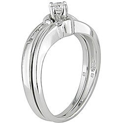 Miadora 14k White Gold 1/4ct TDW Diamond Bridal Ring Set