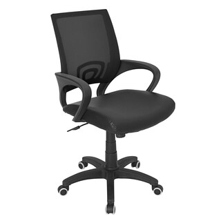 LumiSource Officer Black Faux Leather Office Chair
