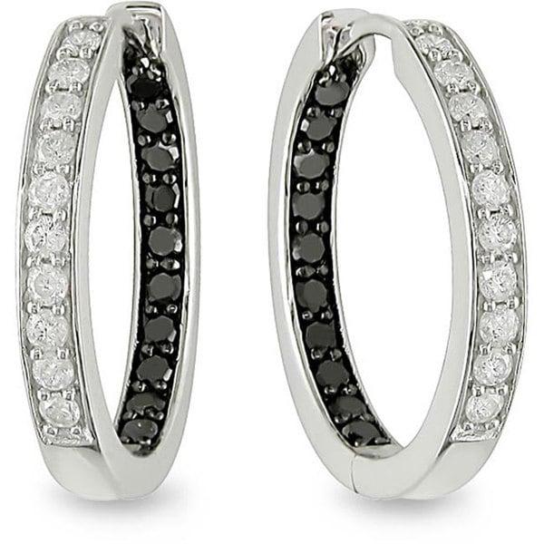 Miadora 14k White Gold 1/2ct TDW Black and White Diamond Hoop Earrings