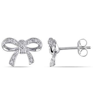 Miadora 10k White Gold Diamond Accent Bow Earrings