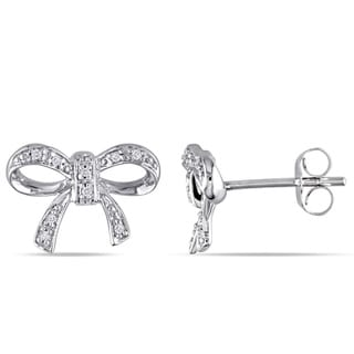 Miadora 10k White Gold Diamond Accent Bow Earrings