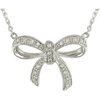 10k White Gold Diamond Accent Bow Necklace