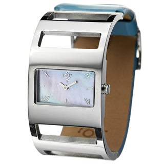 Joy Women's Rectangulares Stainless Steel Blue Openwork Watch