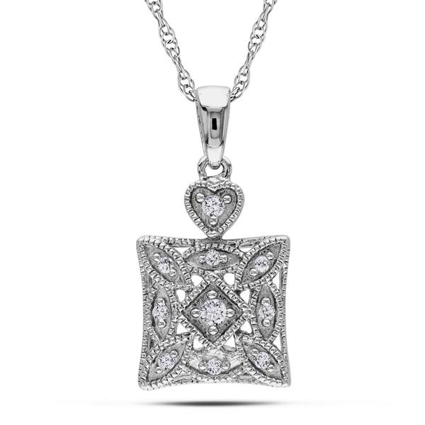 Miadora 10k White Gold 1/10ct TDW Diamond Fashion Necklace