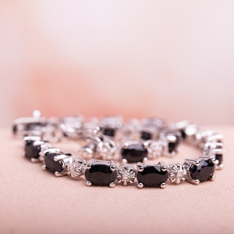 Miadora Sterling Silver Black Sapphire and Diamond Accent Birthstone Tennis Bracelet