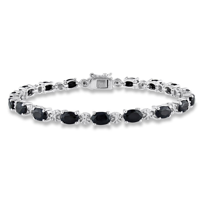 Miadora Sterling Silver Black Sapphire and Diamond Accent Tennis Bracelet (H-I, I2-I3)