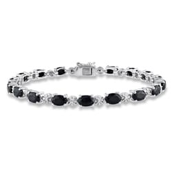 Miadora Silver Black Sapphire and Diamond Tennis Bracelet