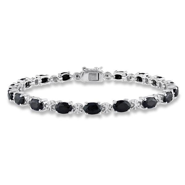 Miadora Sterling Silver Black Sapphire and Diamond Accent Birthstone Tennis Bracelet