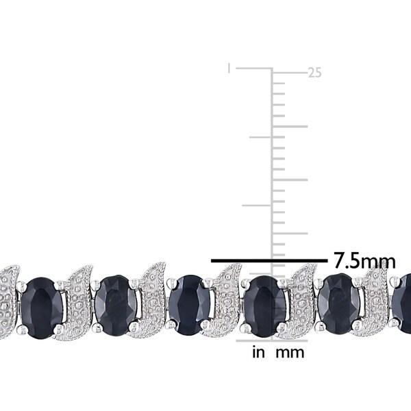 Miadora Silver Created Gemstone and Diamond Accent Tennis Bracelet