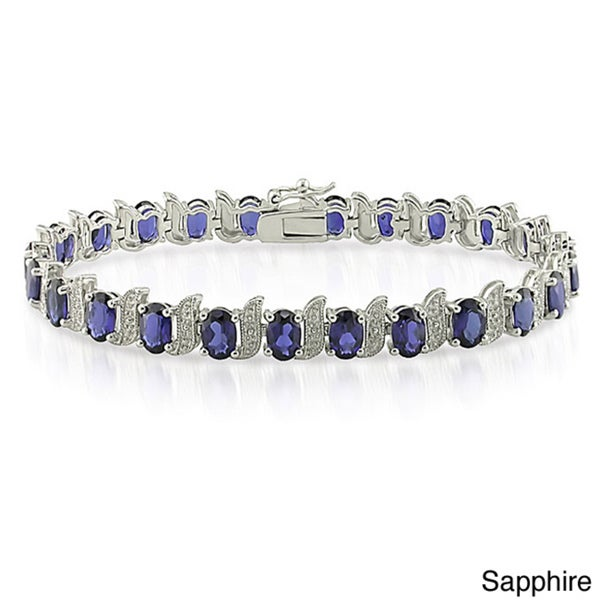 Miadora Silver Created Gemstone and Diamond Accent Tennis Bracelet
