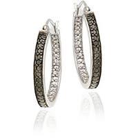DB Designs Sterling Silver Black Diamond Accent 20-mm Hoop Earrings