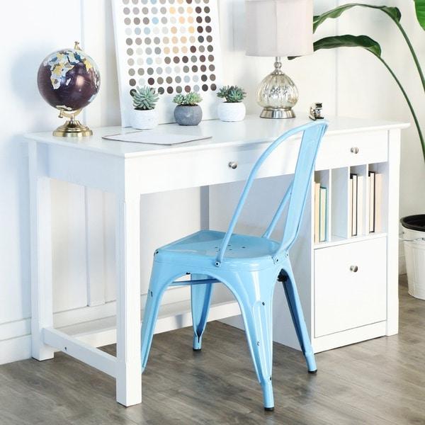 Deluxe White Wood Computer Desk