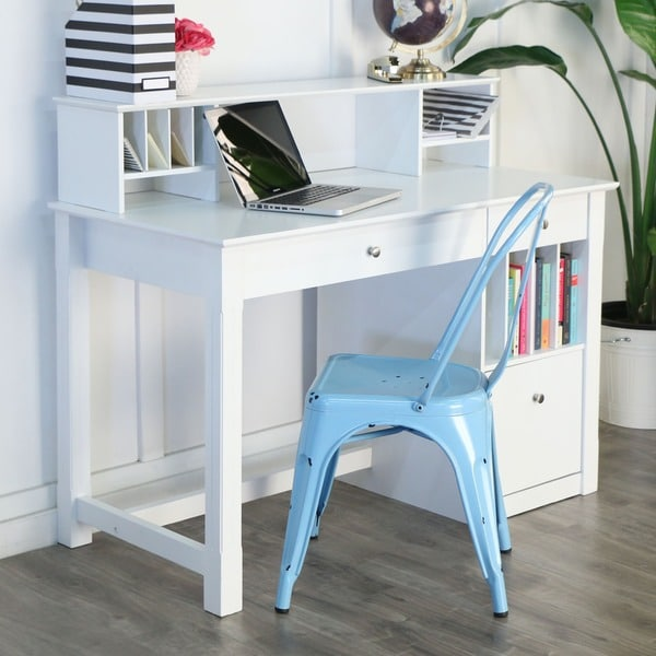 Astonishing Shop 48 Inch White Computer Desk With Hutch Free Shipping Best Image Libraries Sapebelowcountryjoecom