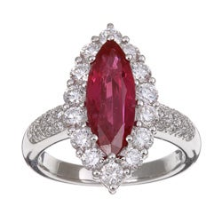 Kabella 18k White Gold Marquise Ruby and 1 3/8ct TDW Diamond Ring (G-H, VS-SI)