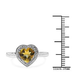 Malaika Sterling Silver Heart-cut Citrine and Diamond Accent Heart Ring