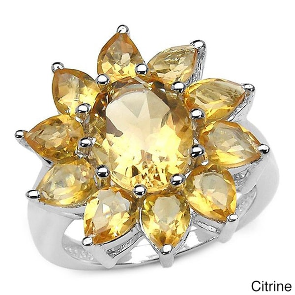 Malaika Sterling Silver Oval- and Pear-cut Citrine or Blue Topaz Flower Ring