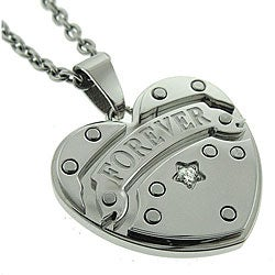 Black and Blue Jewelry Stainless Steel Women's 'Forever' Heart Necklace