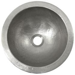 Small Round Copper Pewter Finish Lavatory Sink - Thumbnail 1