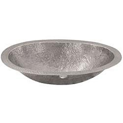 Oval Copper Flat Lip Pewter Finish Lavatory Sink - Thumbnail 1