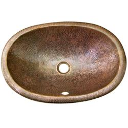 Oval Copper Self Rim Antique Finish Lavatory Sink