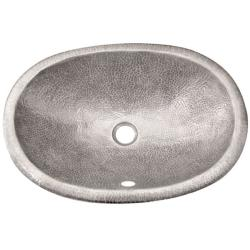 Oval Copper Self Rim Pewter Finish Lavatory Sink