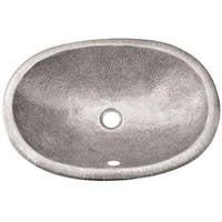 Oval Copper Self Rim Pewter Finish Lavatory Sink