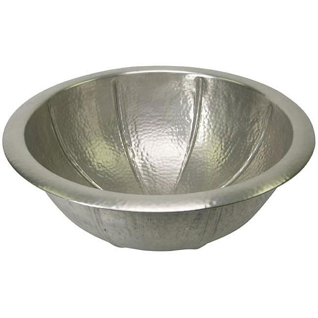 Fluted Round Copper Self Rim Pewter Finish Lavatory Sink