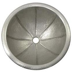 Fluted Round Copper Self Rim Pewter Finish Lavatory Sink - Thumbnail 1