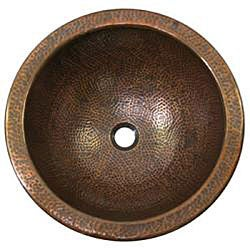 Large Round Copper Flat Lip Antique Finish Bathroom Sink - Thumbnail 1