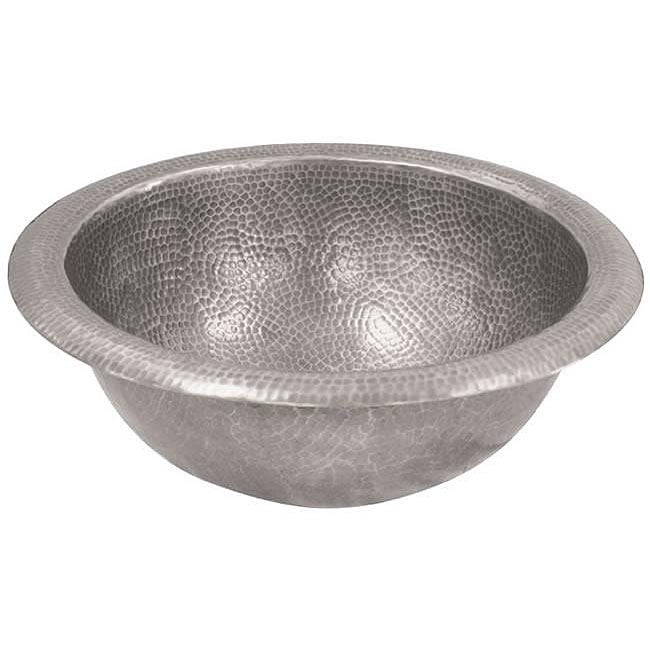 Large Round Copper Self Rim Pewter Finish Bathroom Sink - Thumbnail 0