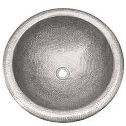 Large Round Copper Self Rim Pewter Finish Bathroom Sink - Thumbnail 1