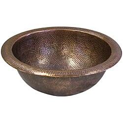 Medium Round Copper Self Rim Antique Finish Bathroom Sink