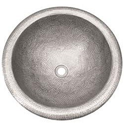 Medium Round Copper Self Rim Pewter Finish Bathroom Sink