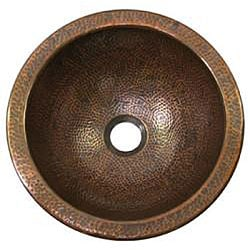 Medium Round Copper Flat Lip Antique Finish Bathroom Sink - Thumbnail 1