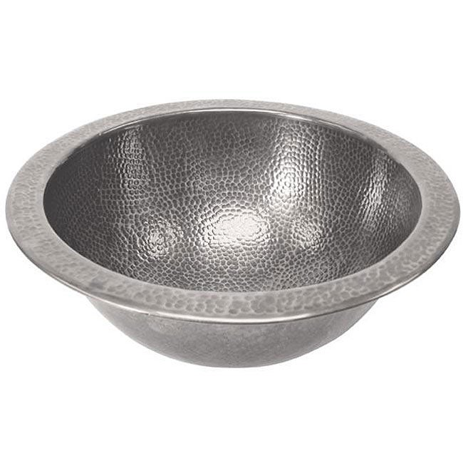 Medium Round Copper Flat Lip Pewter Finish Bathroom Sink - Thumbnail 0