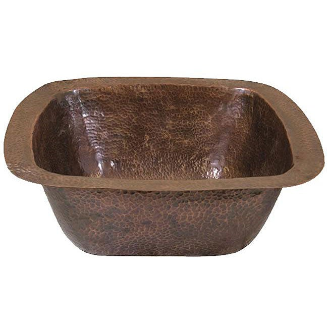 Large Copper Flat Lip Antique Finish Bar/Prep sink - Thumbnail 0